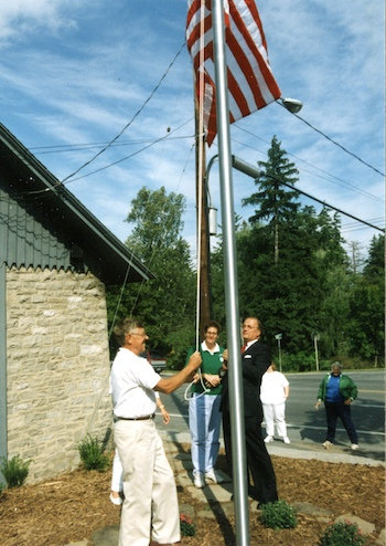 Dedication ceremony - Flagpole/Garder - flag raising (1995)
