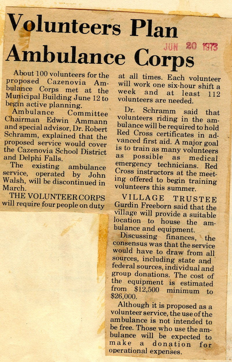 News! CAVAC Volunteers Plan Ambulance Corps (1973)