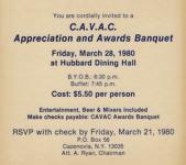CAVAC Banquet announcement (1980)