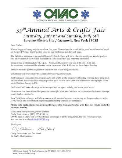 Cavac: Craft Fair Vendor Confirmation Page 2017